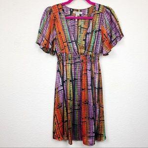 BCBG Elastic Waist Patterned Multi Colored Dress S